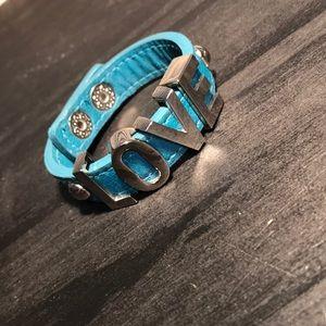 BCBGENERATION teal love in letters bracelet
